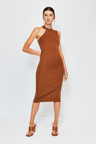 Tan SLEEVELESS KNITTED DRESS