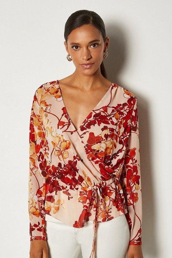 Brown Floral Print Long Sleeve Blouse