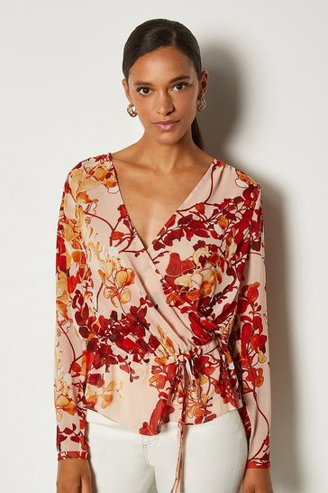 Brown Floral Print Long Sleeve Blouse