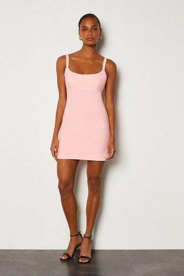 Pink Scoop Neck Mini Dress