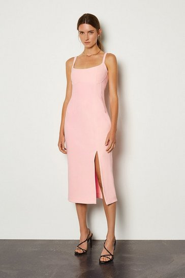 Pink Bodycon Scoop Neck Midi Dress