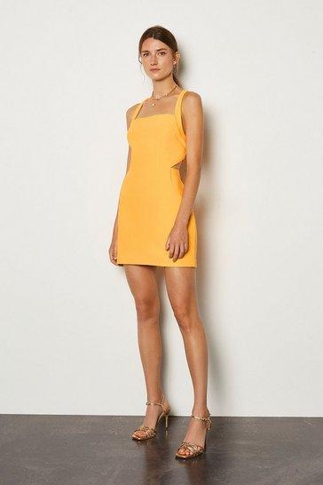 Yellow Cross Back Bodycon Dress