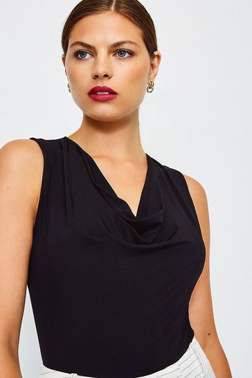 Black Sleeveless Cowl Neck Body