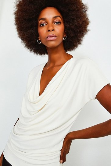 Ivory Slinky Gathered Jersey Top