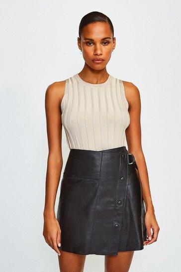 Black Leather A Line Mini Skirt