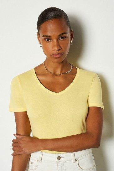 Lemon V Neck Cotton T-Shirt
