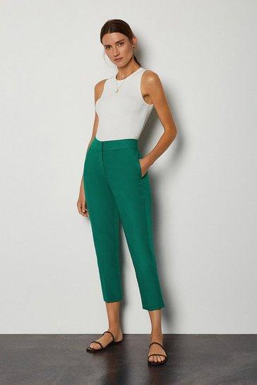 Green Cotton Sateen 7/8 Trouser
