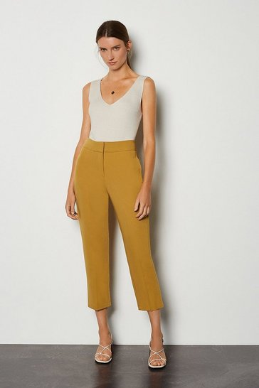 Mustard Cotton Sateen 7/8 Trouser