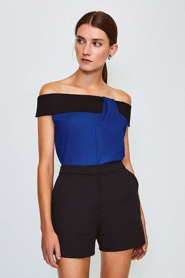 Blue Colour Block Bardot Twist Neck Top