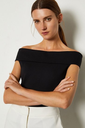 Black Ponte Bardot Top