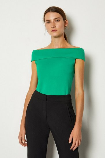 Green Ponte Bardot Top