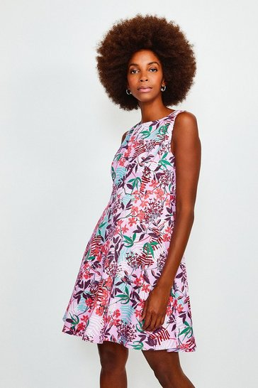 Multi Tropical Floral Print Round Neck Summer Dress