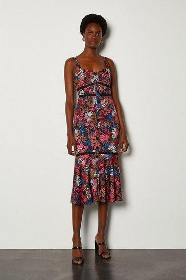 Pink Tropical Floral Print Summer Dress