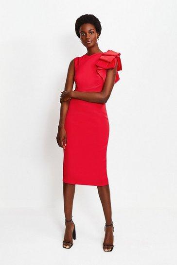 Red Italian Stretch Origami Shoulder Dress