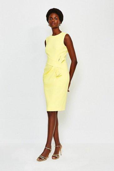 Yellow Italian Stretch Rib Escaping Bow Dress