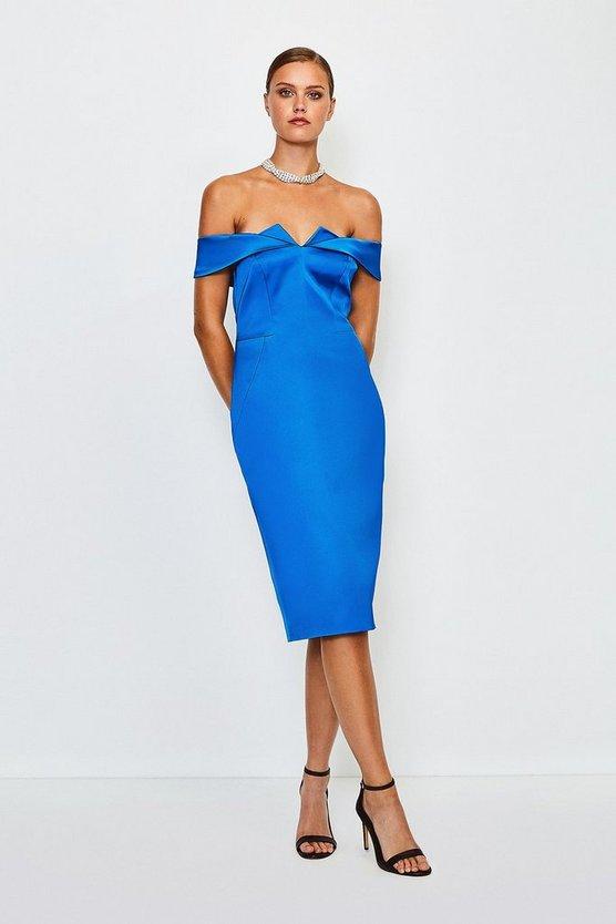Blue Italian Structured Satin Bardot Dress