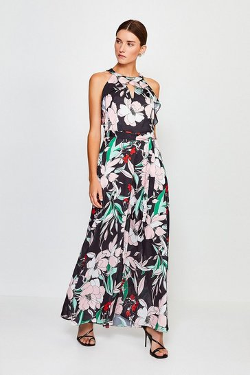Black Floral Print Halter Jumpsuit