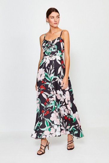 Black Floral Print Tie Front Maxi Dress