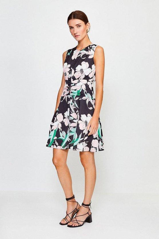 Black Floral Print Zip Front Short Dress