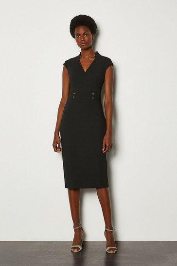 Black Forever Cap Sleeve Stud Waist Dress