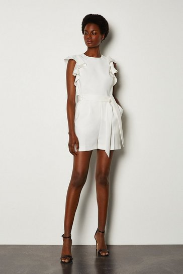 Ivory Frill Sleeve Playsuit