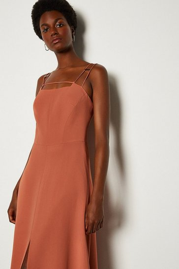 Tan Strap And Bar Midi Dress