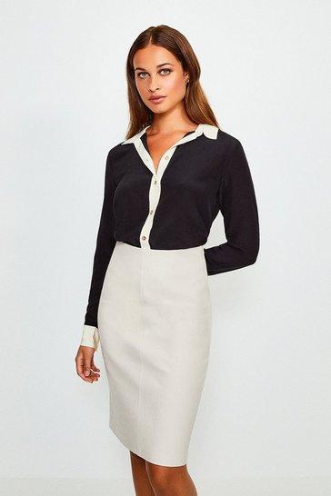 Black Premium Silk Colour Block Shirt
