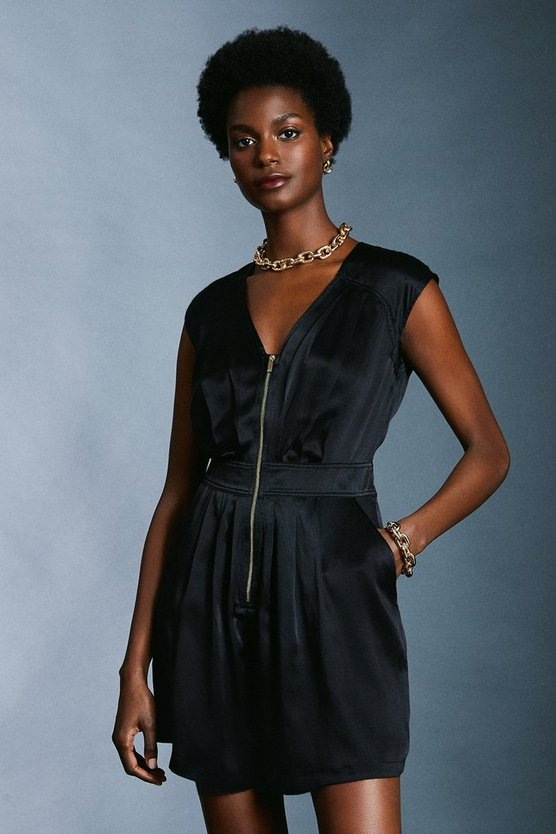 Black Luxe Silk Sand Wash Playsuit
