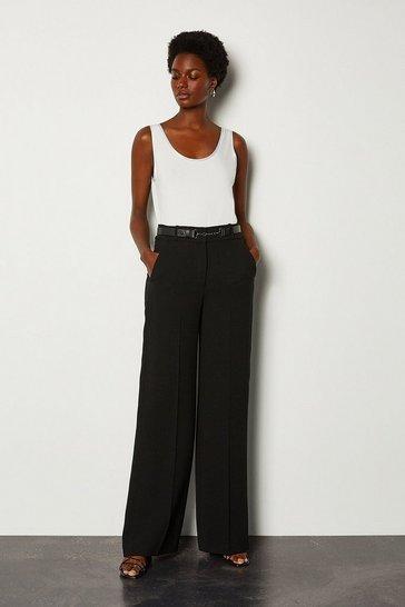 Black Belted Soft Tuxedo Trouser