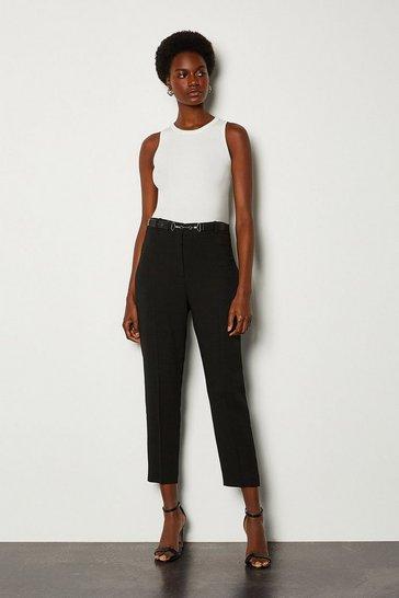 Black Belted Peg Trouser