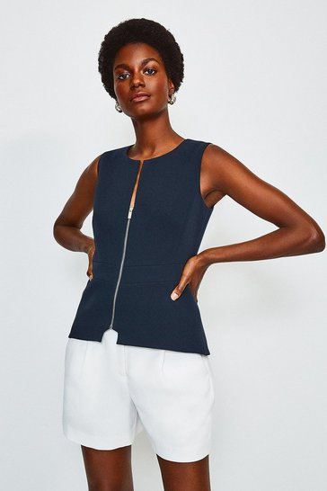 Navy Zip Front Shell Top