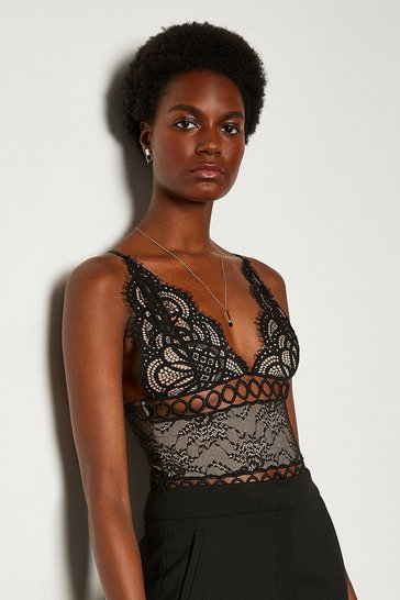 Black Sleeveless V-Neck Front Detail Lace Body