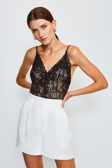 Black Sleeveless V-Neck Lace Body
