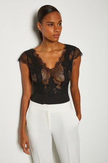 Black Short Sleeved V-Back Jersey Body
