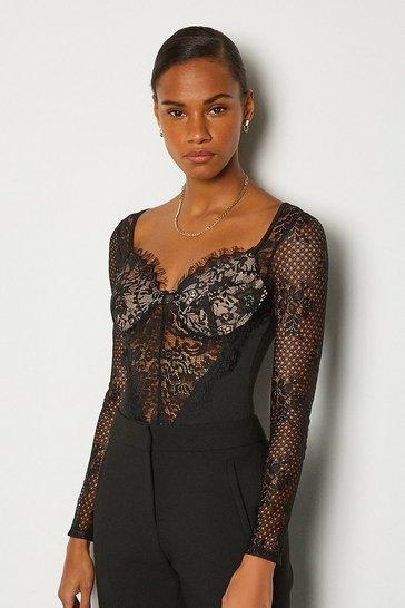 Black Long Sleeve Lace Detail Body