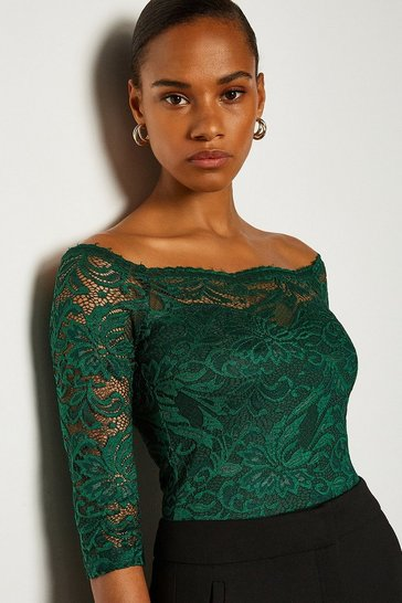 Forest Off The Shoulder 3/4 Sleeve Lace Body