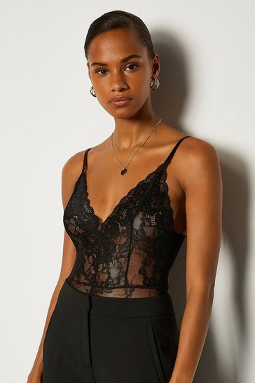 Black Strappy Lace V-Neck Body