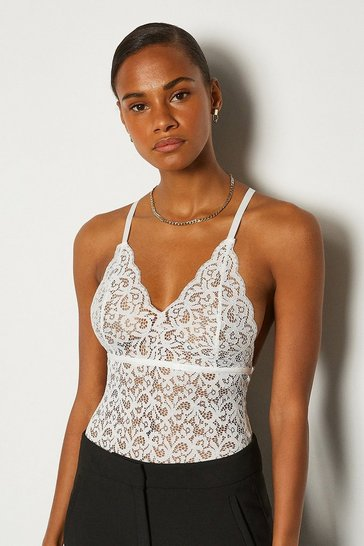 Ivory Strappy Lace Multi Cross Back Body