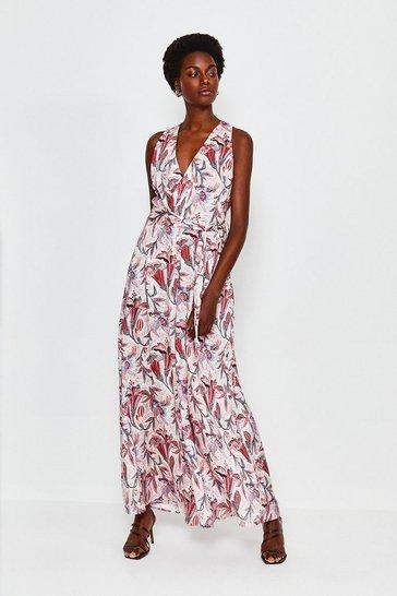 Pink Floral Print Wide Leg Jumpsuit