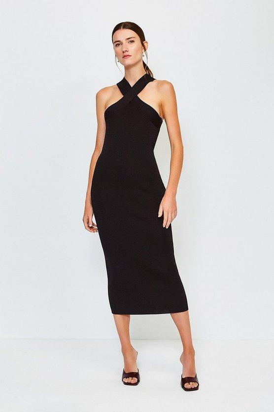 Black Sleeveless Knitted Dress