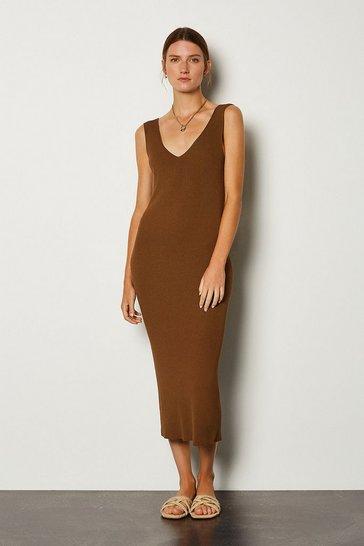 Brown Knitted V Neck Dress