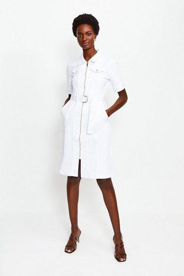 White Denim Zip Front Dress