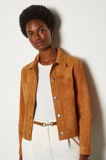 Tan Suede Pocket Front Jacket