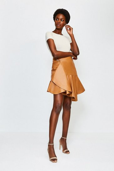 Rust Leather Flippy Mini Skirt