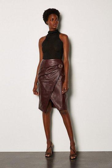 Aubergine Leather Wrap Pencil Skirt