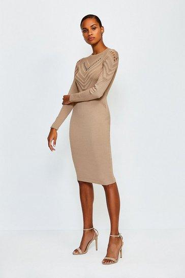 Camel Pointelle Cutwork Knitted Dress