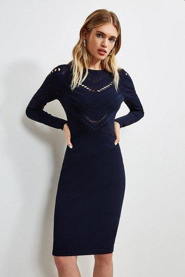 Navy Pointelle Cutwork Knitted Dress