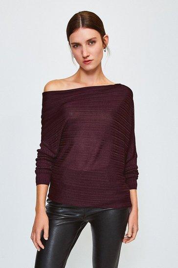 Wine Knitted Rib Drape Shoulder Top