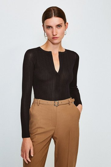 Black Knitted Rib Deep V Top