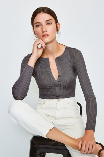 Grey Knitted Rib Deep V Top